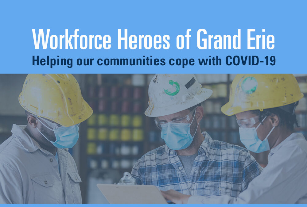 Graphic for story about workforce heroes of Grand Erie